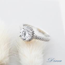 【DINA 蒂娜珠寶】閃亮一顆星 925純銀CZ鑽戒指 (YF61287)