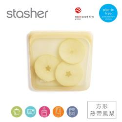 Stasher 方形白金矽膠密封袋-熱帶鳳梨(18.5 x 18 x 1.5cm)