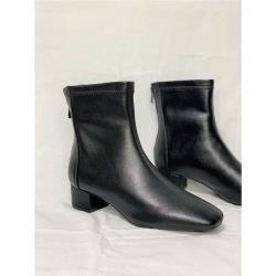 【WYPEX】現貨/人氣指標-牛皮車線方頭低跟短靴-黑