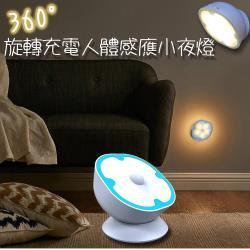 360度旋轉充電人體感應小夜燈