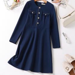 麗質達人 - 5068藍色假二件洋裝