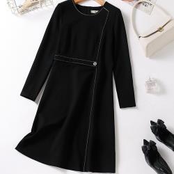 麗質達人 - 5073黑色假二件洋裝