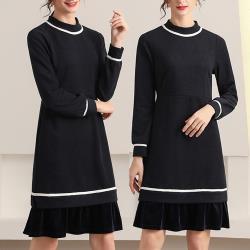 麗質達人 - 45008黑藍拼色假二件洋裝