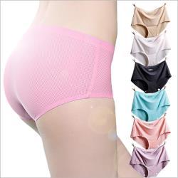 (4入)無痕冰絲內褲-法式3D彈性透氣網鏤空三角褲
