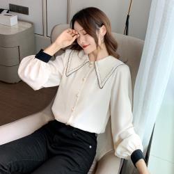 【Sanae】法式花邊娃娃領氣質長袖雪紡襯衫 (2色任選)