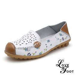 【LOVE FOOT 樂芙】真皮小花縷空百搭兩穿法休閒豆豆鞋 白