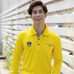 【LEIDOOE】格紋口袋休閒男版長袖POLO衫(55106黃色)