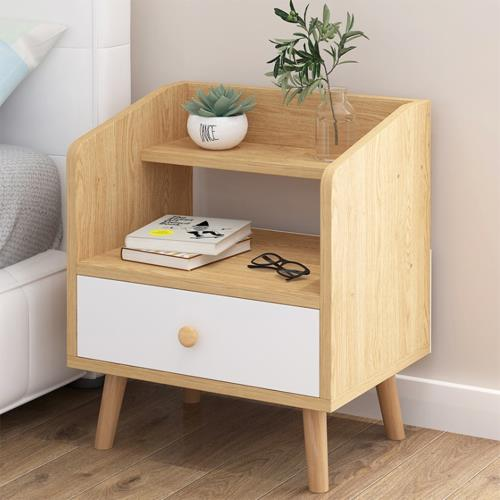 [生活藏室]木腳床頭櫃(一抽櫃)