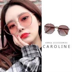《Caroline》年度最新網紅復古金屬大框抗UV時尚太陽眼鏡 72274
