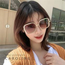 《Caroline》年度最新網紅INS方形金屬大框抗UV時尚太陽眼鏡 72273