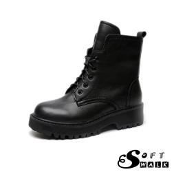 【SOFT WALK 舒步】真皮個性帥氣時尚潮流馬丁靴 黑