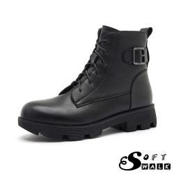 【SOFT WALK 舒步】真皮時尚百搭皮帶釦飾經典短筒馬丁靴 黑