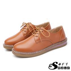 【SOFT WALK 舒步】英倫風經典綁帶舒適平底牛津鞋 棕