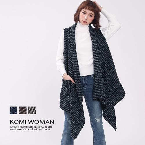 【KOMI】雙色條紋毛織開襟長口袋背心外套‧三色/
