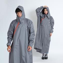 Outperform-奧德蒙雨衣 去去雨水走斜開雙拉鍊專利連身式雨衣-暗岩灰
