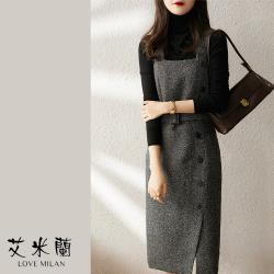 【艾米蘭】韓版優雅綁帶排扣背心洋裝 (M~XL)