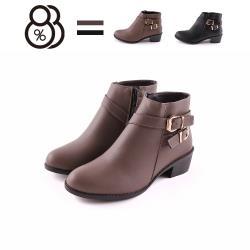 【88%】4CM短靴 MIT台灣製 優雅氣質百搭側面雙飾釦 筒高10.5CM皮革側拉鍊尖頭粗跟靴