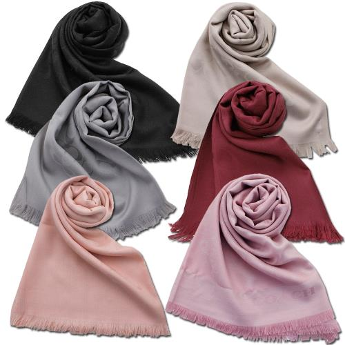 【COACH】經典LOGO圍巾披巾(任選色)/