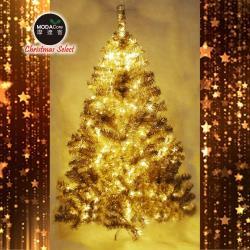 摩達客耶誕-台灣製5呎/5尺(150cm)豪華版氣質霧金系聖誕樹(不含飾品)+100燈LED燈暖白光2串(附IC控制器)