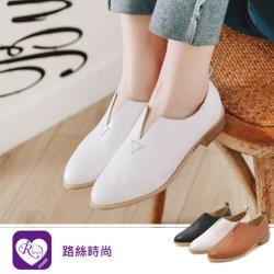 【iRurus 路絲時尚】簡約率性素面尖頭低跟樂福鞋/白色38 (RX1561-8-1) 零碼促銷