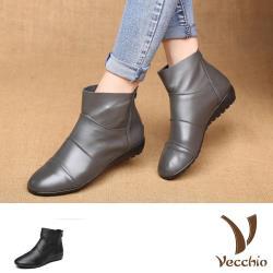 【Vecchio】真皮頭層牛皮純色抓褶舒適坡跟平底短靴(2色任選)