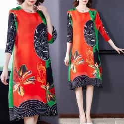 【KEITH-WILL】(預購)年度精選個性壓褶風格風格印花洋裝