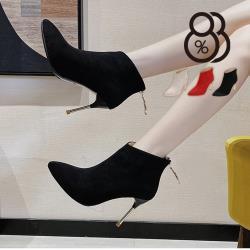 【88%】9CM短靴 優雅氣質百搭金屬色細跟 絨面尖頭後拉鍊細跟靴 高跟短靴