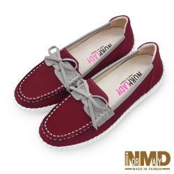 【Normlady 諾蕾蒂】撞色英倫風樂福磁石內增高足弓支撐真皮氣墊球囊鞋-MIT手工鞋(沉穩紅)