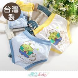 魔法Baby 男童內褲(4件一組) 台灣製角落小夥伴正版純棉三角內褲~k51522