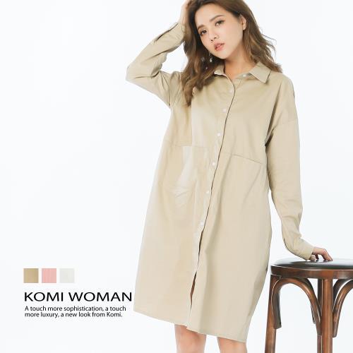 【KOMI】棉口袋襯衫式洋裝‧三色/