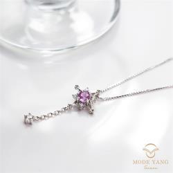 【磨樣Mode yang】粉色星軌 | 粉紅剛玉/粉紅寶石項鍊 *輕柔優美 | 法式浪漫系列