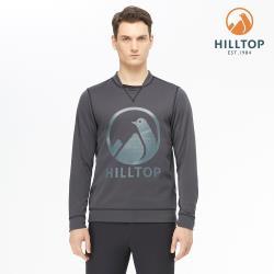 【hilltop山頂鳥】男款POLYGIENE抗菌LOGO刷毛上衣H51MJ3深灰