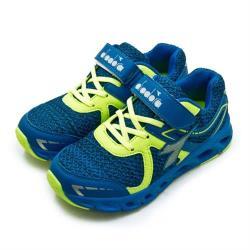 【DIADORA】大童 22cm-24.5cm 迪亞多那 輕量3E寬楦慢跑鞋 競速飆風系列(藍螢綠 7876)