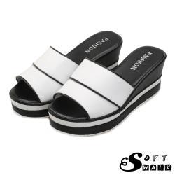 【SOFT WALK 舒步】真皮坡跟時尚撞色線條厚底高跟拖鞋 白
