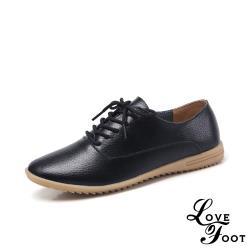 【LOVE FOOT 樂芙】真皮超軟底坡跟時尚拼接百搭牛津鞋 黑