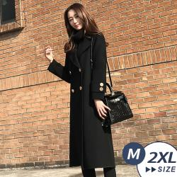【LANNI 藍尼】現+預 超氣質赫本風毛呢大衣(外套/長版大衣)