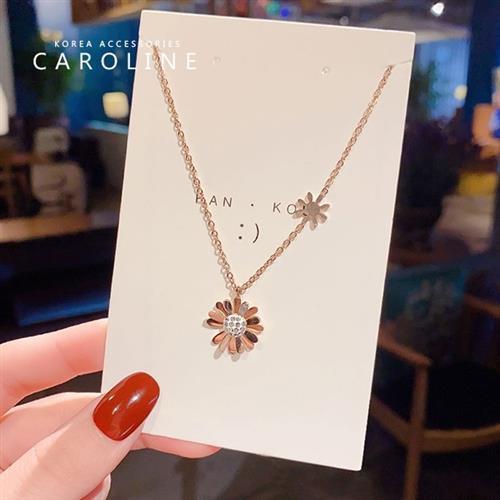 《Caroline》韓國時尚風格項鍊網紅ins甜美.自然.氣質鈦剛項鍊72641/