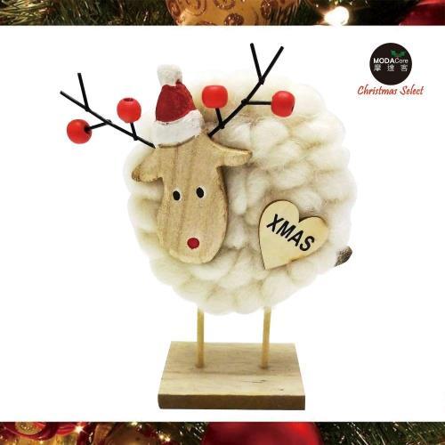 摩達客耶誕-超萌白色羊咩咩羊毛氈公仔聖誕擺飾