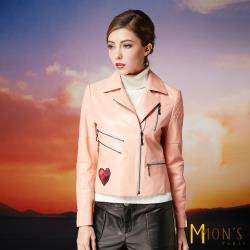 MONS 簡約甜美機車女皮外套 100%綿羊皮