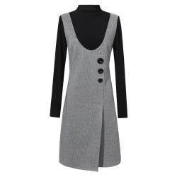 麗質達人 - 43071黑灰拼色假二件洋裝
