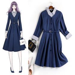 麗質達人 - 10846藍色長袖假二件洋裝