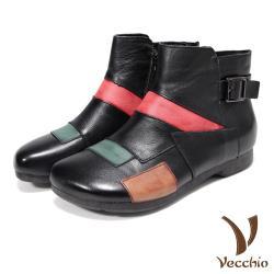 【Vecchio】真皮頭層牛皮彩色手工拼貼皮帶釦飾造型低跟短靴 黑