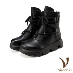 【Vecchio】真皮頭層牛皮復古文藝風粗繩綁帶厚底造型短靴 黑