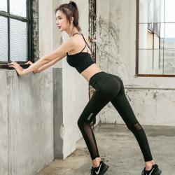 A3 舒適高彈力性感網紗反光設計-瑜珈運動緊身褲-超值(1+1)-預購