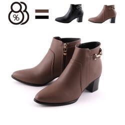 【88%】5.5CM短靴 MIT台灣製 優雅氣質百搭側面金屬飾釦 筒高10.5CM皮革側拉鍊尖頭粗跟靴