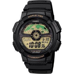 CASIO 卡西歐 10年電力 雷達式世界地圖手錶-黑 AE-1100W-1B