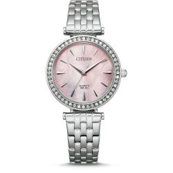 CITIZEN 星辰 LADYS晶鑽時尚女錶-粉貝面-30mm(ER0210-55Y)