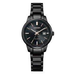 CITIZEN星辰 PAIR光動能簡約對錶/女錶-黑29mm(EW2597-86E)