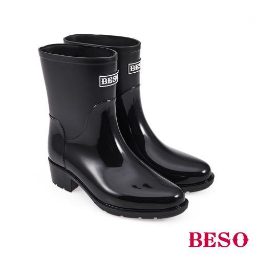 BESO-中筒簡約果凍晴雨靴-黑/