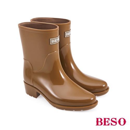 BESO-中筒簡約果凍晴雨靴-茶/